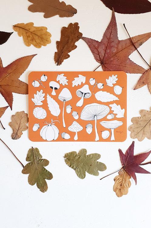 206 carte à colorier Automne fond orange