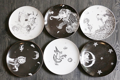 Set of Six Dinner Plates - Circus Collection