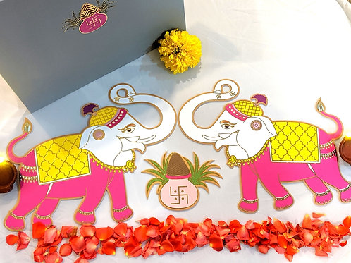 Elephant guards with the kalash Rangoli Set