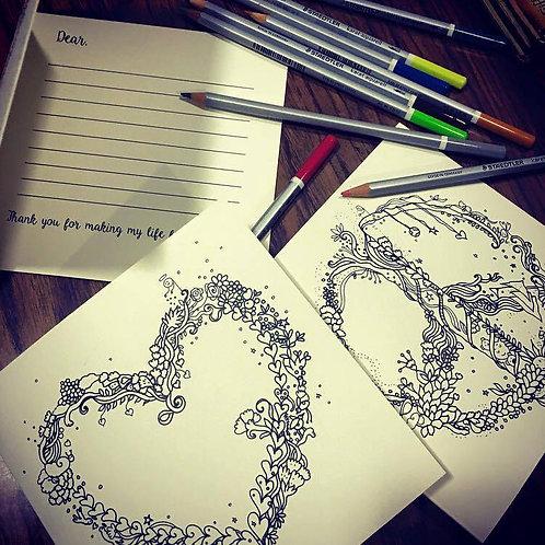 Make Love, Make Peace ,Make Magic - Coloring Greeting cards ( set of 3 )