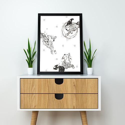 Space Tails Poster - A4