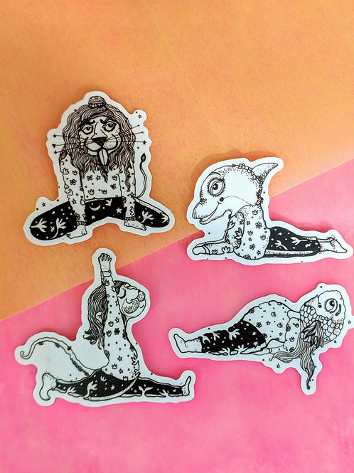 Animals In Yog waterproof Stickers-1