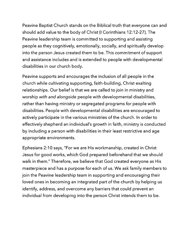 Pevine Baptist Church-Individuals with d