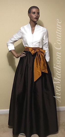 Classic  Fine Indian Silk Taffeta Box Pleated Maxi Skirt. Attached Sash.