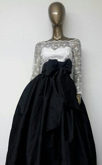 Classic Taffeta TEA or MIDI Length Ball Gown Skirt. Attached Sash.
