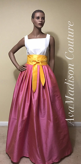 Classic Fine Indian Silk Taffeta Ball Gown Pleated Skirt