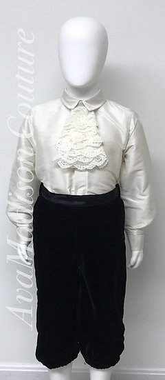AvaClecil Boys Outfit - Shirt. Velvet Knickerbockers. Shirt. Lace Jabot.