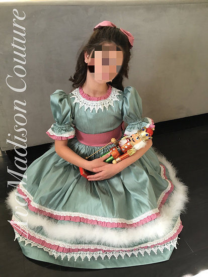 AvaPenna Girl Dress with Feather Trim. Clara's Costume.