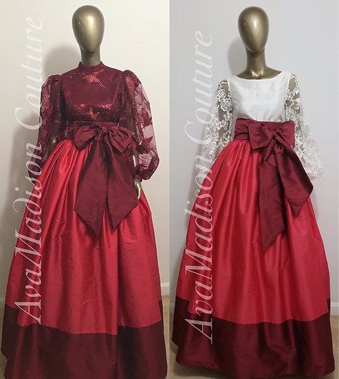 AvaJanelle Two-Color Silk Taffeta Gathered Ball Gown Skirt. Sash Waistband.