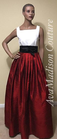 Classic Fine Silk Dupioni Pleated  Ball Gown Skirt. Obi Sash