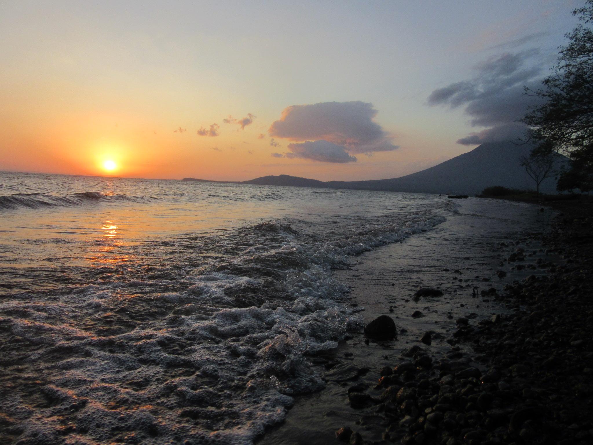 Nicaragua's lake and sunset