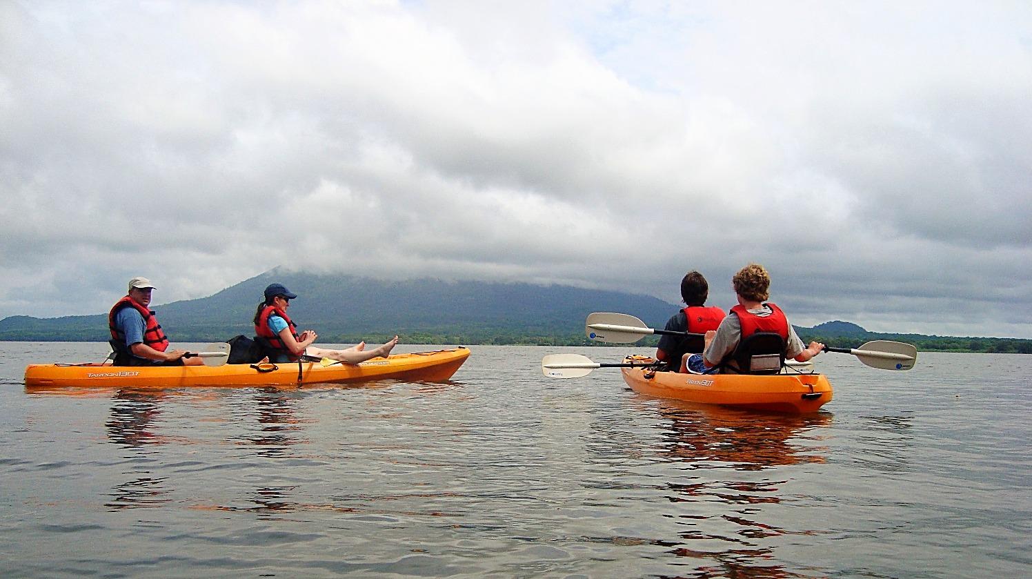 Tourist in kayak on Ometepe