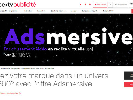 BEMERSIVE TEAMS WITH FRANCE TV PUBLICITE FOR VR AND AR ADS