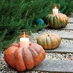 Pumpkins light the walkway outside.
