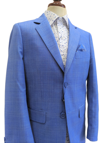 Style No. 474 Light Blue Linen-Look Boys Suit