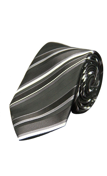 STYLE NO 56 BOYS BLACK WHITE AND SILVER STRIPE TIE