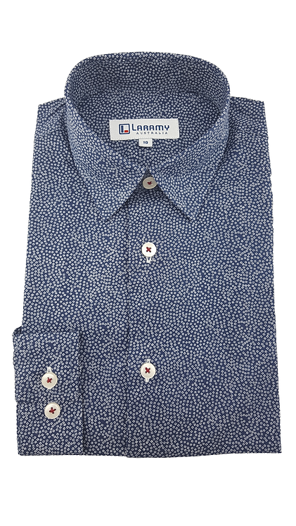 1111 Navy Shirt With Square Pattern