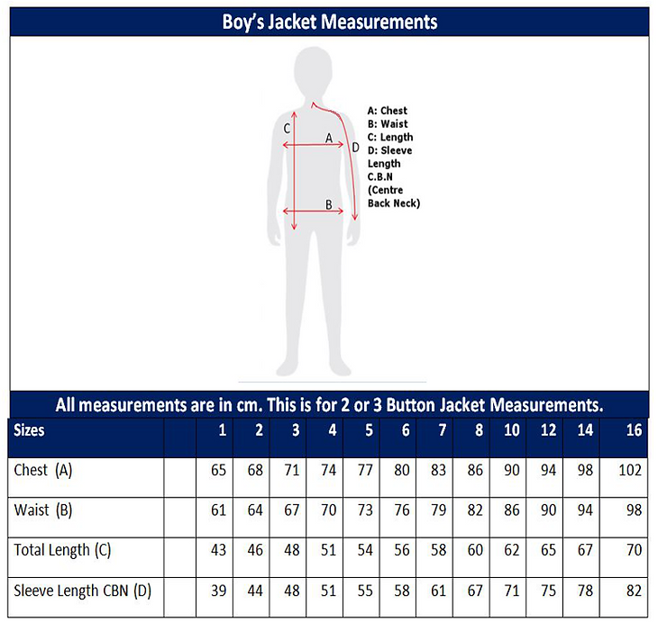 Boys Jacket Sizing
