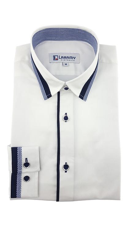 1107 White Shirt With Navy Trim