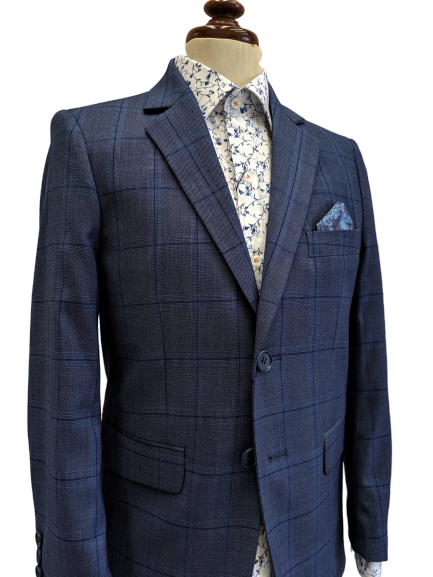 Style No. 473 Blue Check Boys Suit