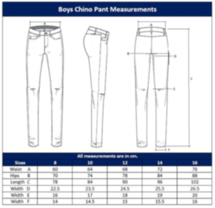 Boys Trouser Sizing