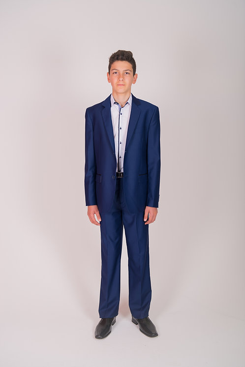 Boys Mid Blue Suit Pant