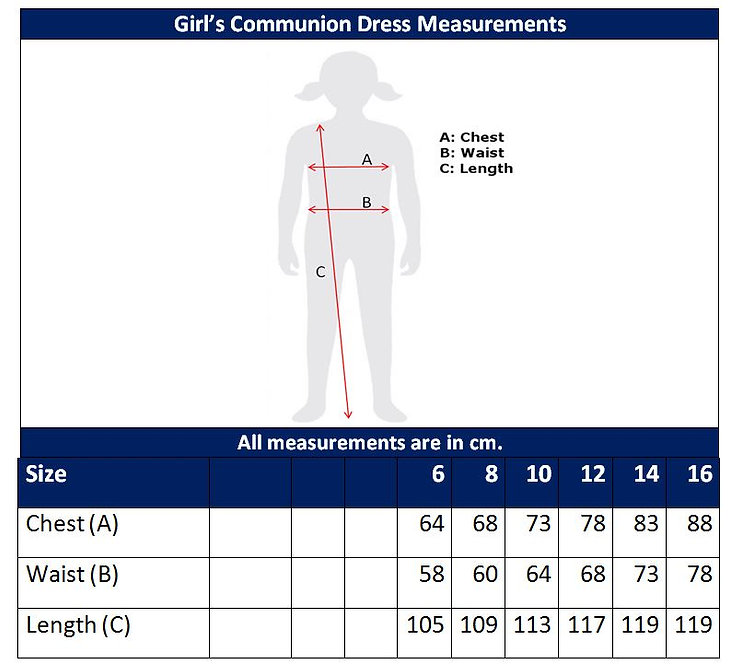Communion Dress Sizing