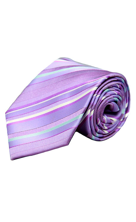 STYLE NO 57 BOY'S LIGHT LILAC STRIPE TIE