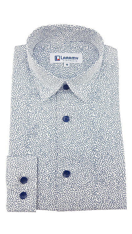 1112 White Shirt With Navy Square Pattern