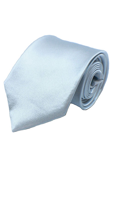 1005 BOYS SATIN PLAIN SILVER FORMAL TIE