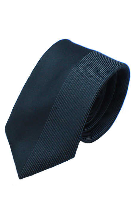 Z10 BOYS WOVEN HALF BLACK GREY STRIPED SKINNY TIE