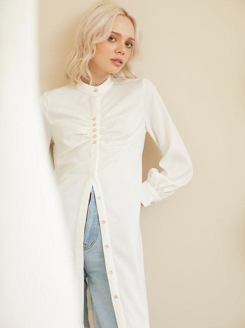 Camilia Shirt Dress - Frosty White