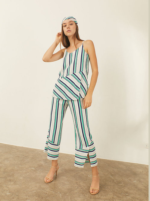 Tara Pants - White green navy stripe
