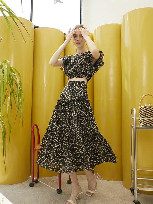 Dahlia Ruffle  Skirt - Black Yellow Flower