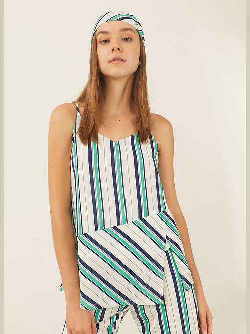 Tara Top - White green navy stripe