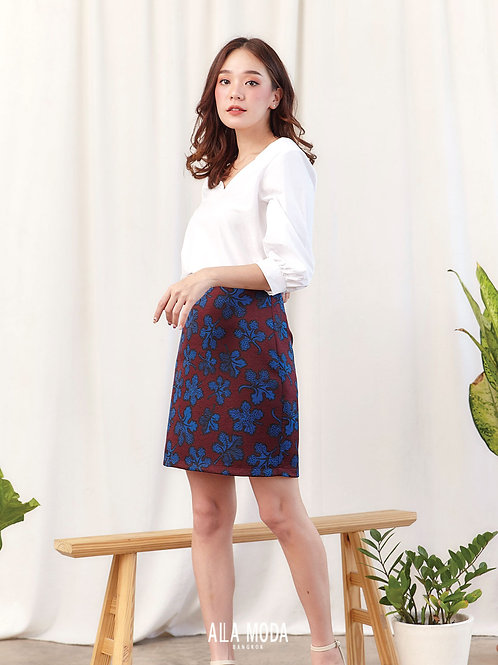 Alice Skirt - Red Blue Flower