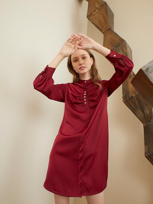 Camilia Shirt Dress - Current Red