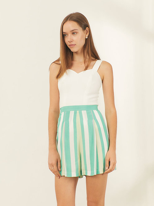 Victoria Pants - Green white stripe