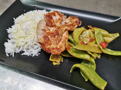 araignée porc riz et pois gourmands