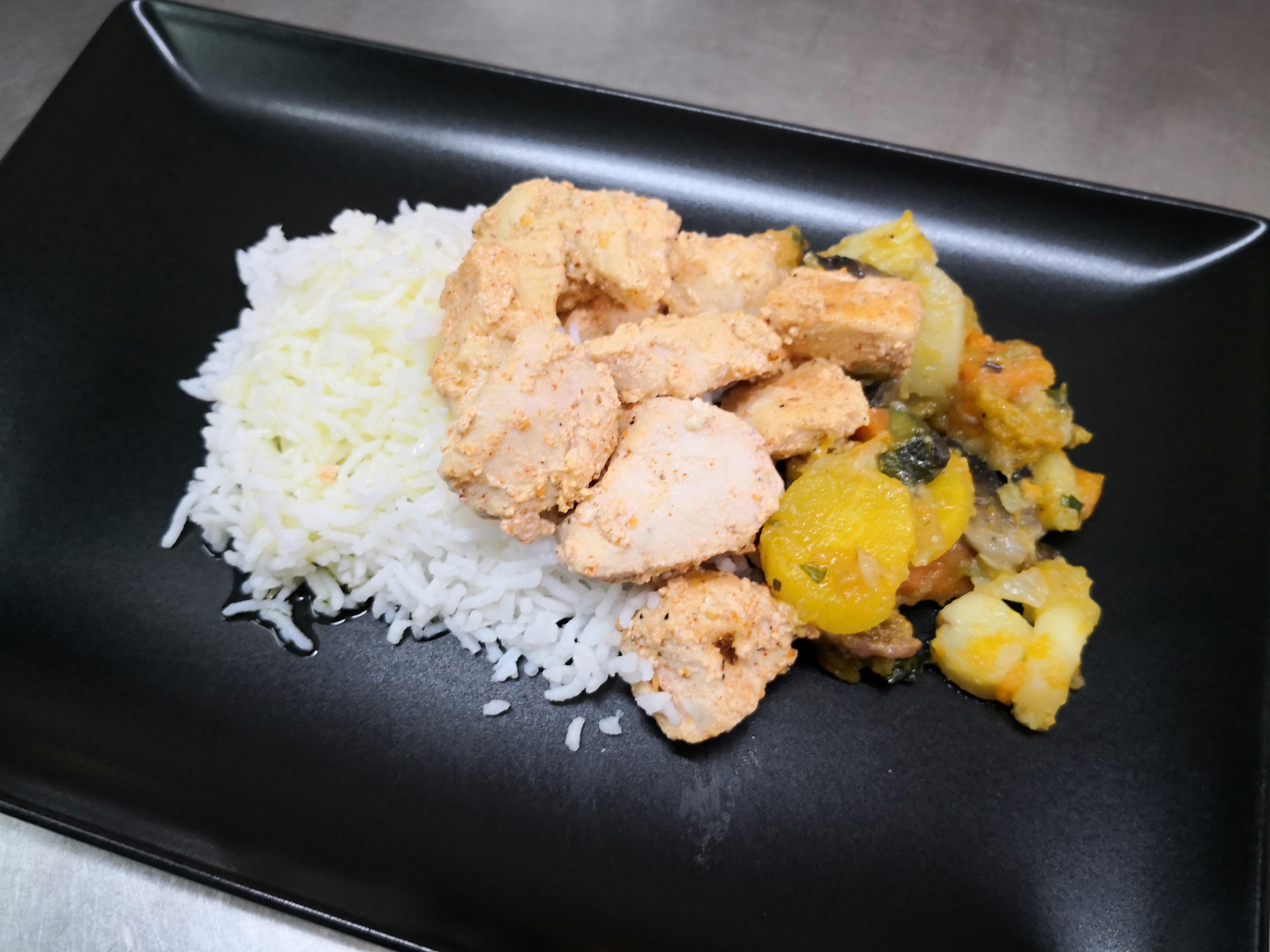 Filet de poulet tandoori, riz