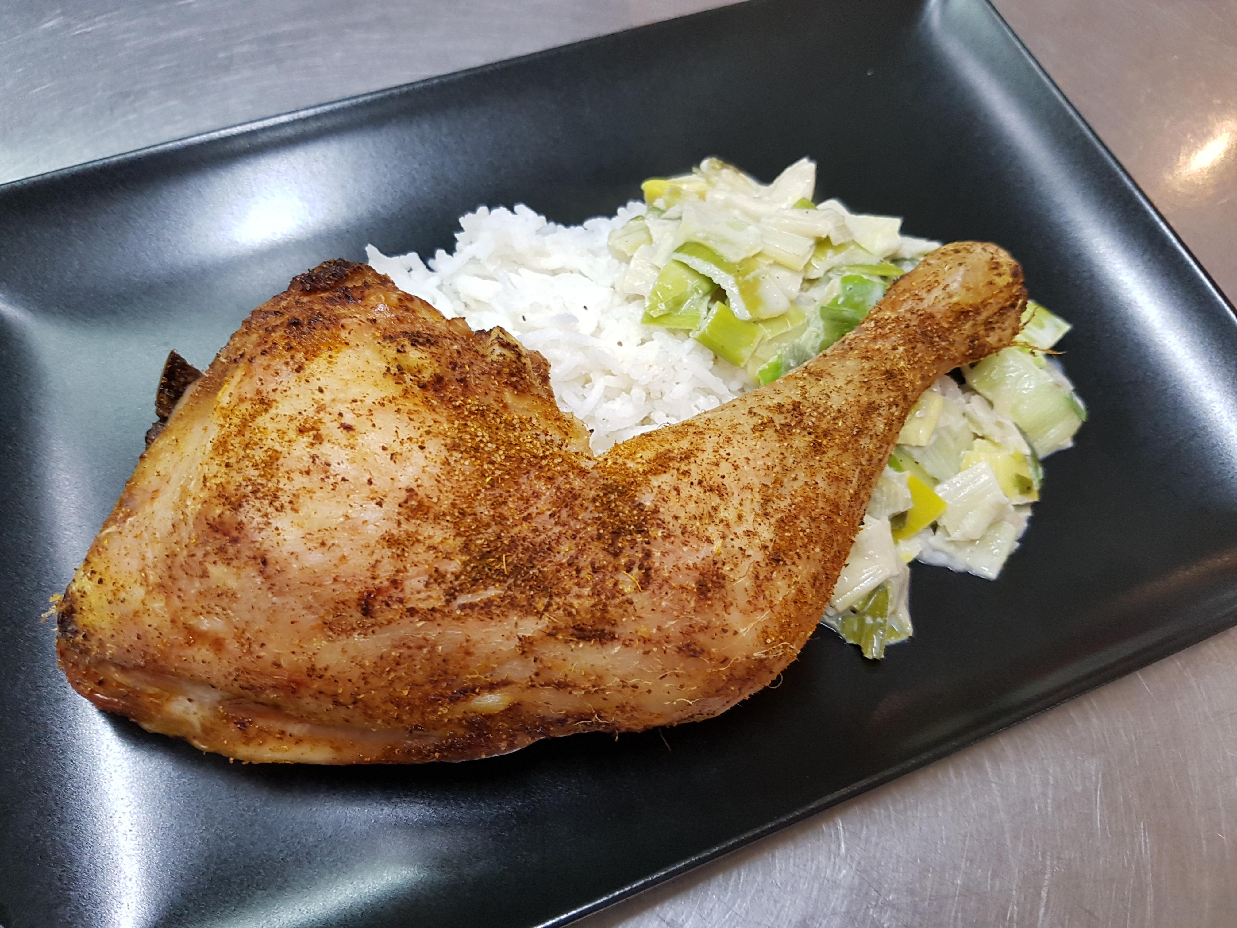 2/01 : Cuisse de poulet grillée, riz