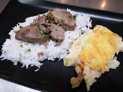 Noix joue de porc, riz gratin chou f