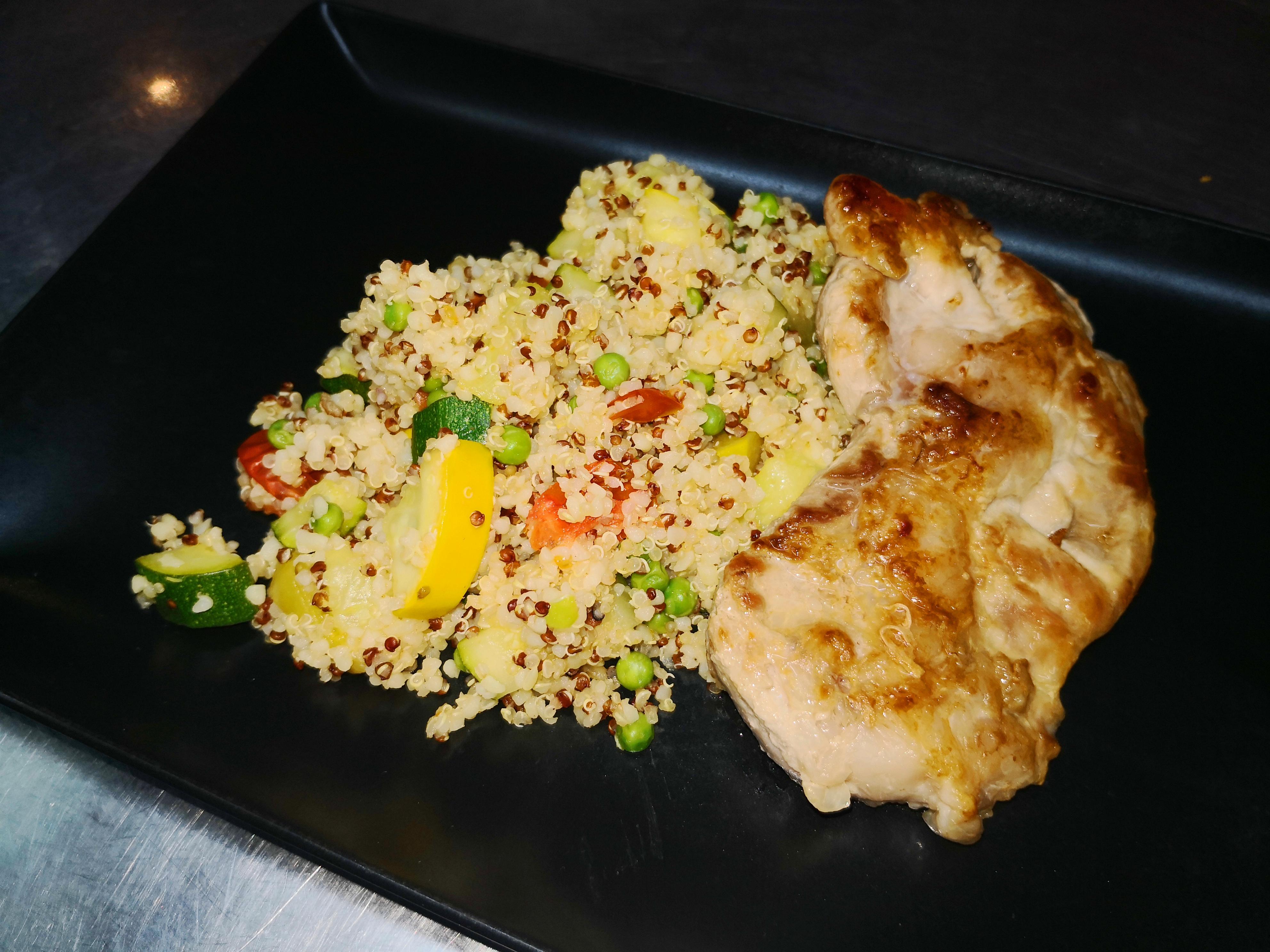 escalope porc quinoa aux légumes