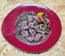 Mijoté de bœuf, pâtes et ratatouille