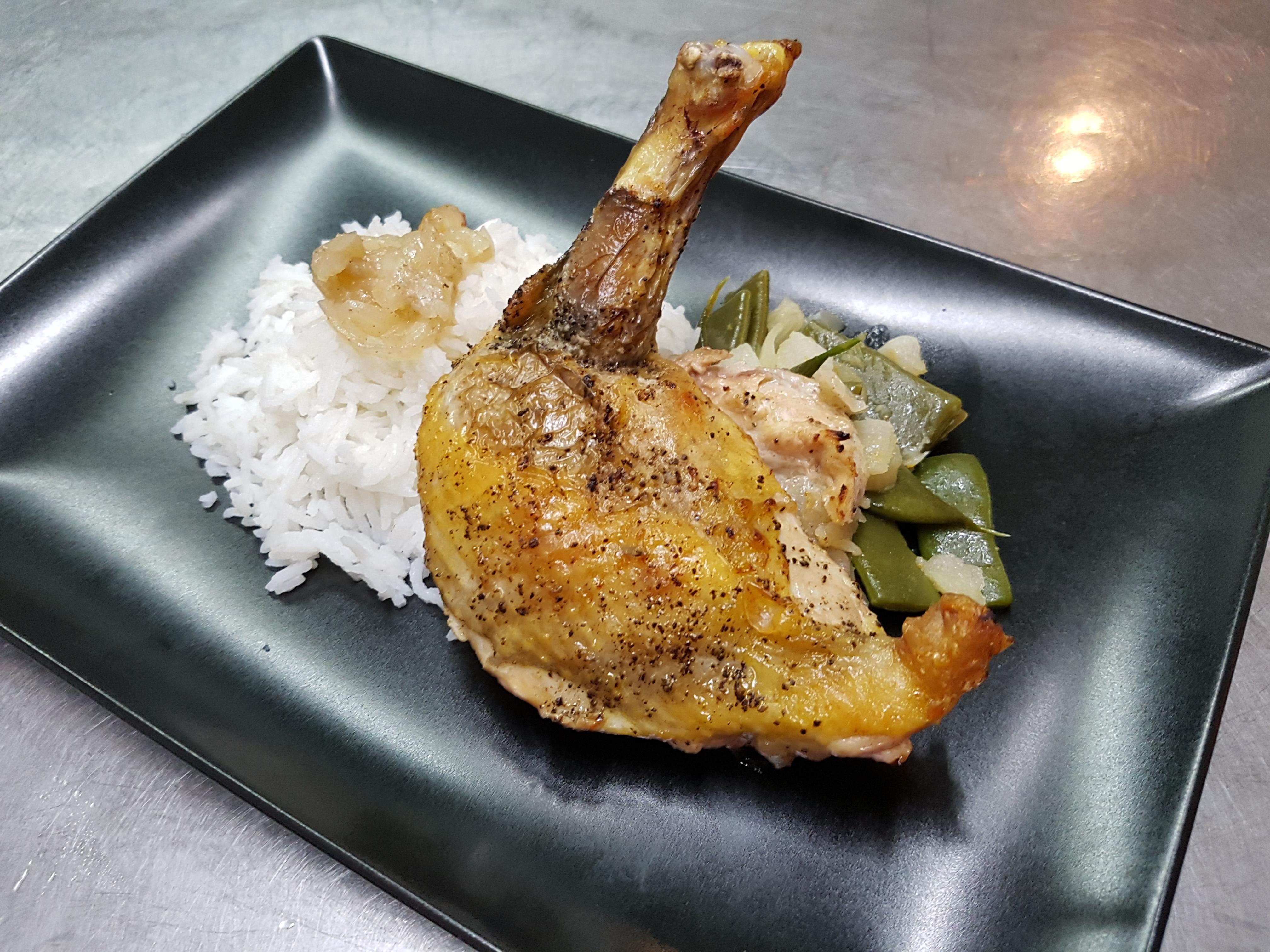 cuisse de pintade grillée, riz