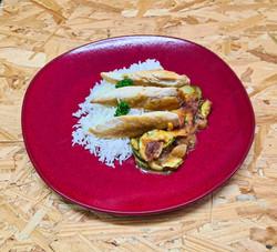 Aiguillettes de poulet grillées accompag