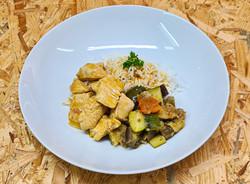 Curry de dinde, riz basmati et ratatouil