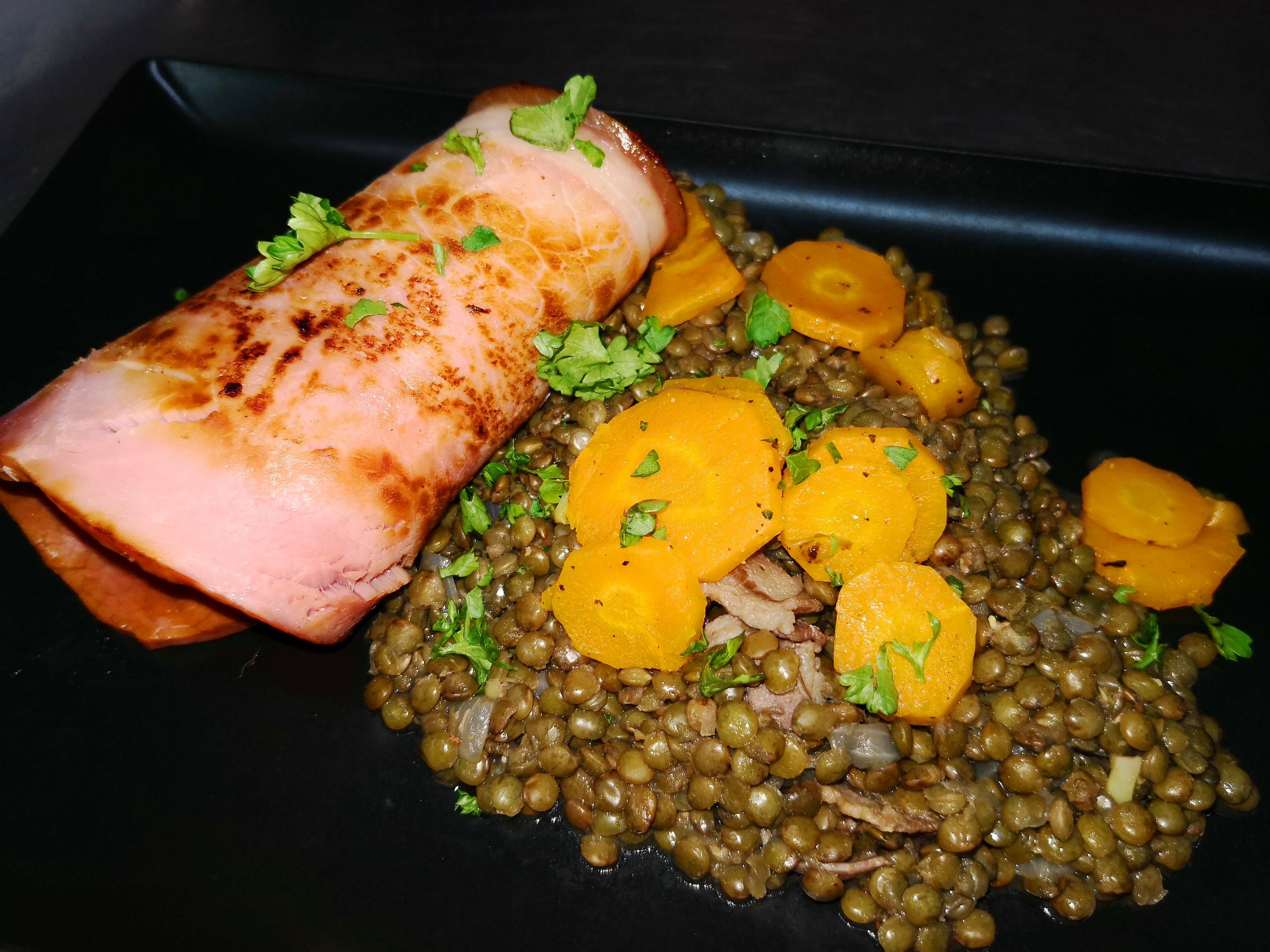 jambon grillé lentilles vertes