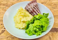 jambon grillé et purée maison