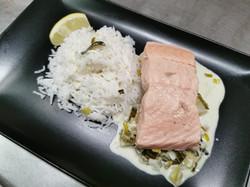 filet saumon fondue poireaux